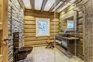 Bilde av et lekkert bad med steinvask